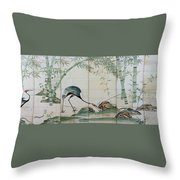 Top Quality Art - Cranes Pines And Bamboo Throw Pillow
