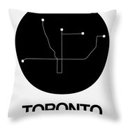 Toronto Black Subway Map Throw Pillow