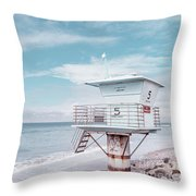 Torrey Pines Beach Lightguard Station Number 5 Throw Pillow by Wendy Fielding
