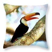 Toucan On A Tree Throw Pillow