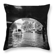 Tourboat On Amsterdam Canal Throw Pillow