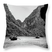Touring Ha Long Bay Row Boats People Bw Throw Pillow