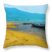 Tourists In Lang Co 2 - Hue, Vietnam Throw Pillow