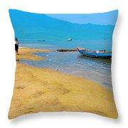 Tourists In Lang Co 1 - Hue, Vietnam Throw Pillow