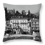 Town In The Shore Of Lake Como In Black And White Throw Pillow