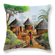 Traditional Village Throw Pillow