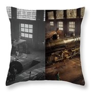 Train - Repair - Third Door On The Right 1942 - Side By Side Throw Pillow