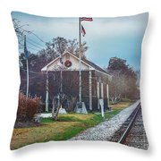 Train Tracks To Old Town Throw Pillow