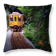 Train With Tunnel Of Pingxi Line, Taiwan Throw Pillow