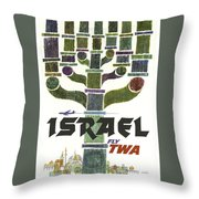 Trans World Airlines - Israel - Vintage Travel Poster Throw Pillow