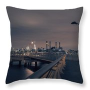 Transmitter Park Pier, Brooklyn Throw Pillow