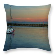 Trawler And A Yacht Throw Pillow