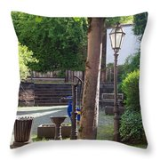 tree lamp and old water pump in Cochem Germany Throw Pillow