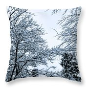 Trees With Snow Throw Pillow