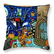 Trick Or Treat Halloween Cats Throw Pillow