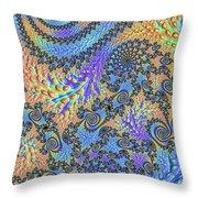 Trippy Vibrant Fractal  Throw Pillow