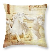 Triton And Horse Throw Pillow