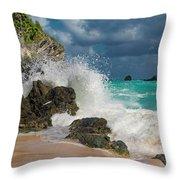 Tropical Beach Splash Throw Pillow