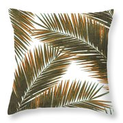 Tropical Palm Leaf Pattern 6 - Tropical Wall Art - Summer Vibes - Modern, Minimal - Brown, Copper Throw Pillow