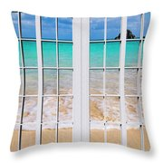 Tropical Paradise Beach Day Windows Throw Pillow
