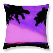 Tropical Pink Sunset Throw Pillow