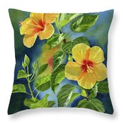 Tropical Yellow Orange Hibiscus With Background Throw Pillow
