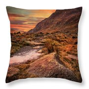 Tryfan Mountain Sunrise Throw Pillow by Adrian Evans
