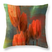 Tulips With Green Background Throw Pillow