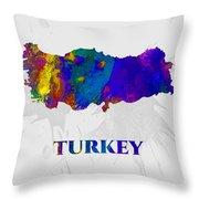 Turkey, Map, Artist Singh Throw Pillow