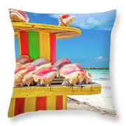 Turks And Caicos Conchs On A Spool Throw Pillow