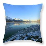 Turnagain Arm In Winter Alaska Throw Pillow