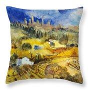 Tuscan Landscape - San Gimignano Throw Pillow