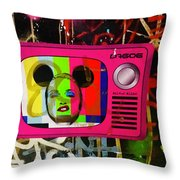Tv Madonna On Air On Barcelona Walls  Throw Pillow