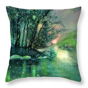 Twilight At The River Rhine Throw Pillow