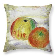 Two Apples, 1875 Throw Pillow