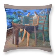 Two Boats In The Night Throw Pillow
