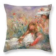 Two Children Seated Among Flowers, 1900 Throw Pillow