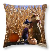 Two Cute Scarecrows With Pumpkins In The Dry Corn Field Throw Pillow