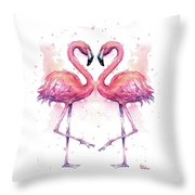 Two Flamingos In Love Watercolor Throw Pillow