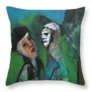 Two Men In A Field Throw Pillow