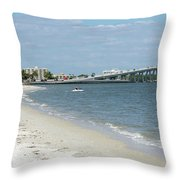 Two Men Set Out On Jet Skis From A Sanibel Island Causeway Islan Throw Pillow