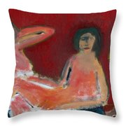 Two Nudes By A Lamp Throw Pillow