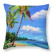 Two Palms In Paradise Throw Pillow