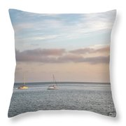 Two Sail Boats In Ocean Sea Facing The Sunset During The Golden  Throw Pillow