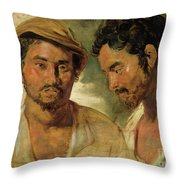 Two Studies Of A Man, Head And Shoulders Throw Pillow