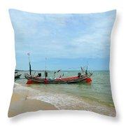 Two Thai Fishermen Take Equipment Onto Boat At Seaside Pattani Thailand Throw Pillow