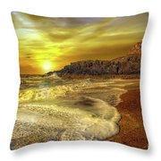 Twr Mawr Lighthouse Sunset Throw Pillow by Adrian Evans