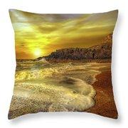 Twr Mawr Lighthouse Sunset Throw Pillow