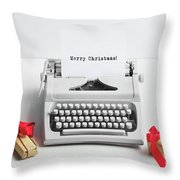 Typewriter With Merry Christmas Text And Gifts Throw Pillow