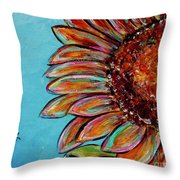 Sunflower With Bee Throw Pillow by Jacqueline Athmann